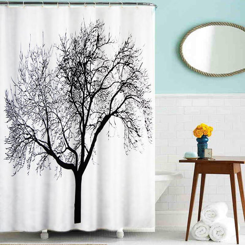 Lushomes Dried Tree Digital Printed Waterproof Bathroom Shower Curtain with 12 Eyelets and 12 Hooks - Lushomes