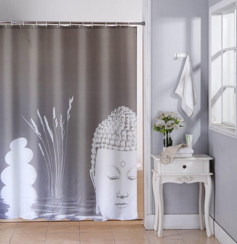 Lushomes Grey Buddha Design Digital Printed Waterproof Bathroom Shower Curtain with 12 Eyelets and 12 Hooks - Lushomes