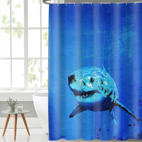 Lushomes Shark Digital Printed Waterproof Bathroom Shower Curtain with 12 Eyelets and 12 Hooks - Lushomes
