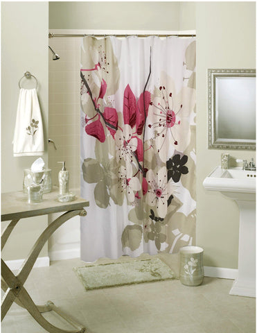 Lushomes Pink Leaf Digital Printed Waterproof Bathroom Shower Curtain with 12 Eyelets and 12 Hooks - Lushomes