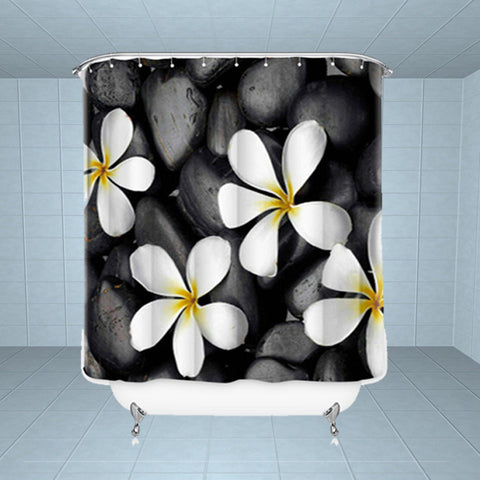 Lushomes Water Lily Digital Printed Waterproof Bathroom Shower Curtain with 12 Eyelets and 12 Hooks - Lushomes