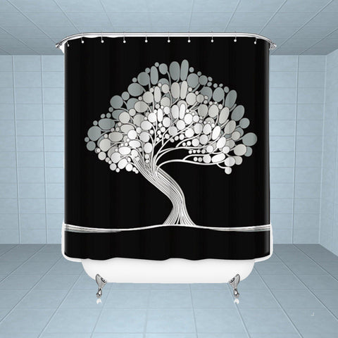 Lushomes Positive Tree Digital Printed Waterproof Bathroom Shower Curtain with 12 Eyelets and 12 Hooks - Lushomes