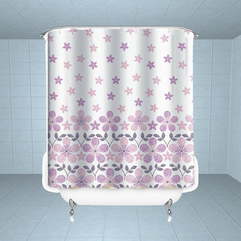 Lushomes Dotted Flowers Digital Printed Waterproof Bathroom Shower Curtain with 12 Eyelets and 12 Hooks - Lushomes