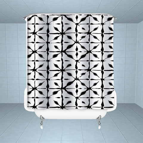 Lushomes Block Digital Printed Waterproof Bathroom Shower Curtain with 12 Eyelets and 12 Hooks - Lushomes
