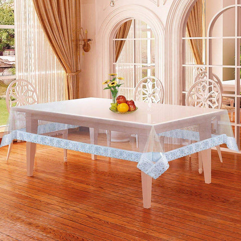 "Lushomes Clear PVC table Cloth with thick attractive 3"" lace (60 x 90"", 6-8 Seater Table Cloth) - Lushomes"