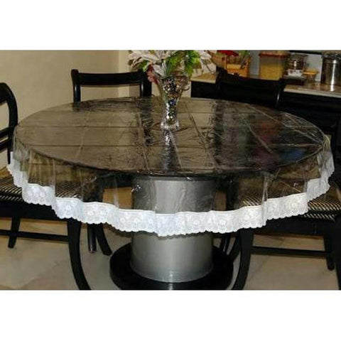"Lushomes Clear PVC table Cloth with thick attractive 3"" lace (60"" Round, Four Seater Round) - Lushomes"