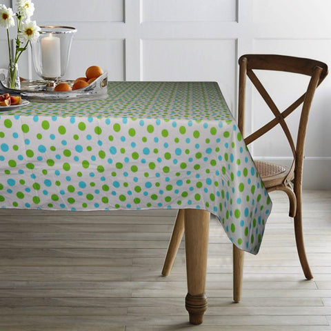 "Lushomes Spots Peva table cloth with Smooth Flannel Table cloth Backing (60 x 90"", Single Piece) - Lushomes"