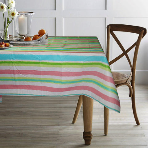 "Lushomes Multi Stripes 2 Peva table cloth with Smooth Flannel Table cloth Backing (60 x 90"", Single Piece) - Lushomes"