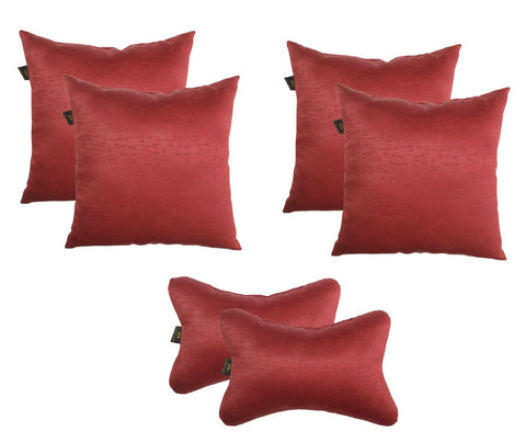 Lushomes Textured Blackout Red Car Set (4 pcs Cushions & 2 pcs Neck rest Pillow) - Lushomes