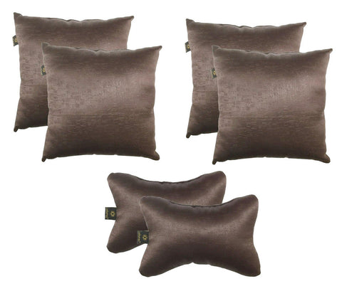 Lushomes Textured Blackout Dark Brown Car Set (4 pcs Cushions & 2 pcs Neck rest Pillow) - Lushomes