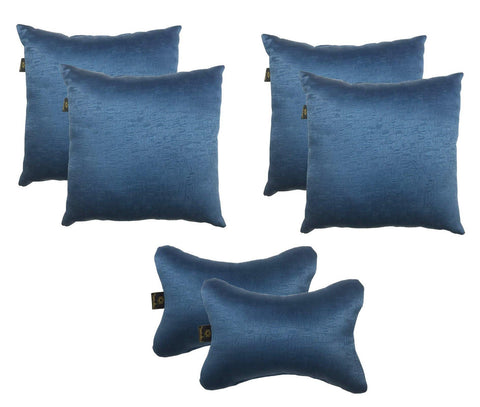 Lushomes Textured Blackout Blue Car Set (4 pcs Cushions & 2 pcs Neck rest Pillow) - Lushomes
