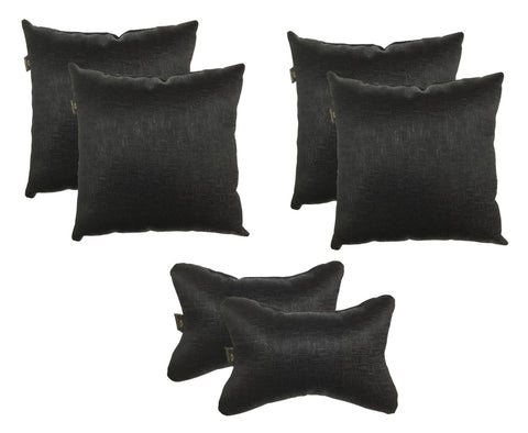 Lushomes Textured Blackout Black Car Set (4 pcs Cushions & 2 pcs Neck rest Pillow) - Lushomes