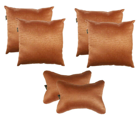 Lushomes Textured Blackout Light Brown Car Set (4 pcs Cushions & 2 pcs Neck rest Pillow) - Lushomes