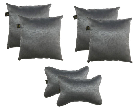 Lushomes Textured Blackout Dark Grey Car Set (4 pcs Cushions & 2 pcs Neck rest Pillow) - Lushomes