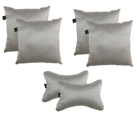 Lushomes Textured Blackout Light Grey Car Set (4 pcs Cushions & 2 pcs Neck rest Pillow) - Lushomes