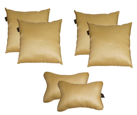 Lushomes Textured Chrome Car Set (4 pcs Cushions & 2 pcs Neck rest Pillow) - Lushomes