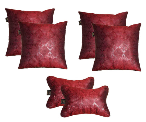 Lushomes Textured Maroon Car Set (4 pcs Cushions & 2 pcs Neck rest Pillow) - Lushomes
