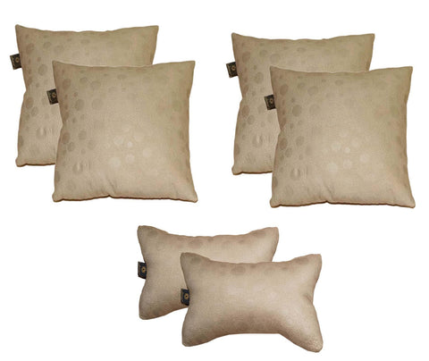 Lushomes Textured Beige Car Set (4 pcs Cushions & 2 pcs Neck rest Pillow) - Lushomes