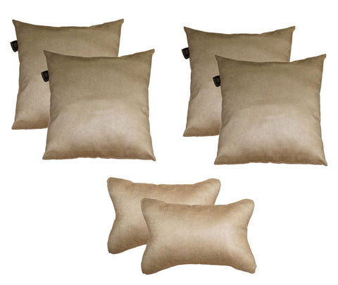 Lushomes Textured Natural Car Set (4 pcs Cushions & 2 pcs Neck rest Pillow) - Lushomes
