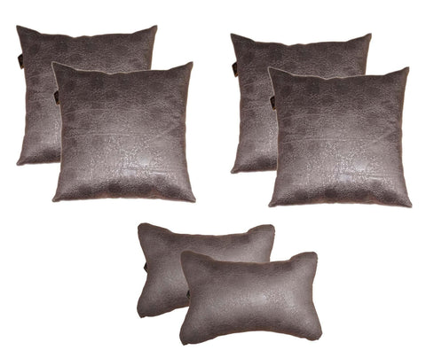 Lushomes Textured Metal Car Set (4 pcs Cushions & 2 pcs Neck rest Pillow) - Lushomes
