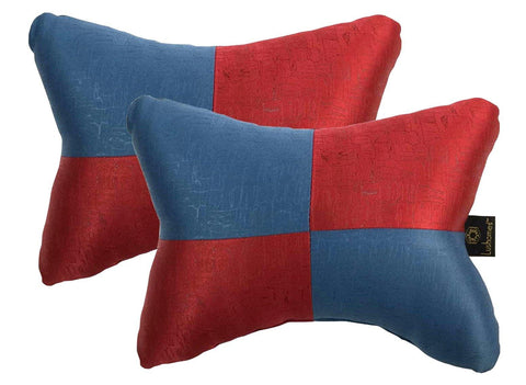 Lushomes Red & Blue Embossed Comfortable Car Neck Pillow (Pack of 2 pcs) - Lushomes