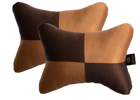Lushomes Light Brown & Dark Brown Embossed Comfortable Car Neck Pillow (Pack of 2 pcs) - Lushomes