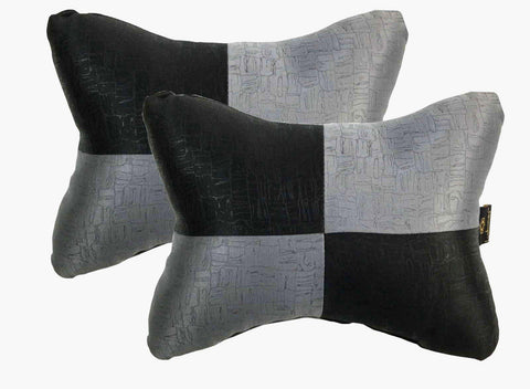Lushomes Dark Grey & Black Embossed Comfortable Car Neck Pillow (Pack of 2 pcs) - Lushomes