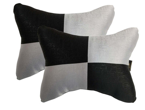 Lushomes Light Grey & Black Embossed Comfortable Car Neck Pillow (Pack of 2 pcs) - Lushomes