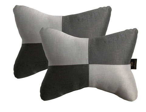 Lushomes Light Grey & Dark Grey Embossed Comfortable Car Neck Pillow (Pack of 2 pcs) - Lushomes