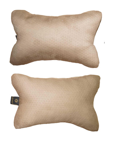 Lushomes Beige Embossed Comfortable Car Neck Pillow (Pack of 2 pcs) - Lushomes