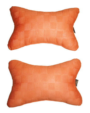 Lushomes Orange Embossed Comfortable Car Neck Pillow (Pack of 2 pcs) - Lushomes