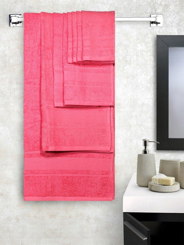 Lushomes Ultra Absorbent Bath 8 pc Salmon Rose Towel Set packed with Ribbon and PVC box with handle. (1 x Gents T. + 1 ladies T. + 2 x Hand T. + 4 x Face T.) - Lushomes