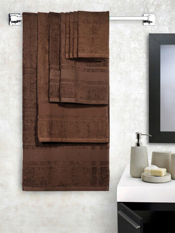 Lushomes Ultra Absorbent Bath 8 pc Choco Towel Set packed with Ribbon and PVC box with handle. (1 x Gents T. + 1 ladies T. + 2 x Hand T. + 4 x Face T.) - Lushomes