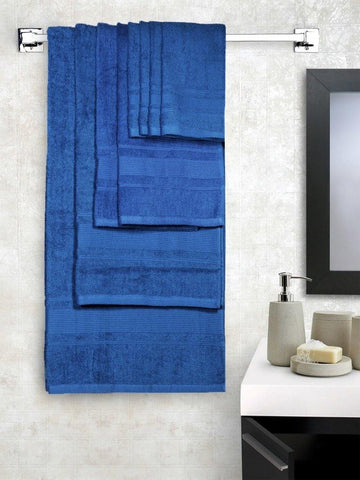 Lushomes Ultra Absorbent Bath 8 pc Nautical Blue Towel Set packed with Ribbon and PVC box with handle. (1 x Gents T. + 1 ladies T. + 2 x Hand T. + 4 x Face T.) - Lushomes