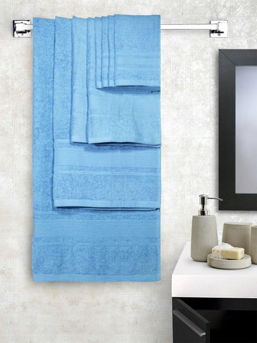 Lushomes Ultra Absorbent Bath 8 pc Alaskan Blue Towel Set packed with Ribbon and PVC box with handle. (1 x Gents T. + 1 ladies T. + 2 x Hand T. + 4 x Face T.) - Lushomes