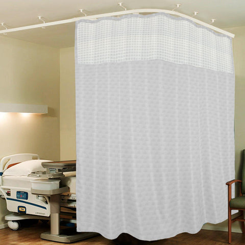 Lushomes White ICU Partition Cubes Square Net Hospital Curtain with 8 Eyelets and 8 C-Hooks (Size 244 X 215 cms, Single Pc, 2 partition Curtains Stitched Together) - Lushomes