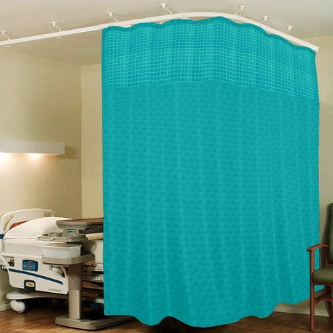 Lushomes Dark Green ICU Partition Cubes Square Net Hospital Curtain with 8 Eyelets and 8 C-Hooks (Size 244 X 215 cms, Single Pc, 2 partition Curtains Stitched Together) - Lushomes