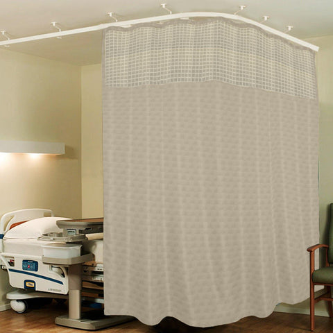 Lushomes Cream ICU Partition Cubes Square Net Hospital Curtain with 8 Eyelets and 8 C-Hooks (Size 244 X 215 cms, Single Pc, 2 partition Curtains Stitched Together) - Lushomes