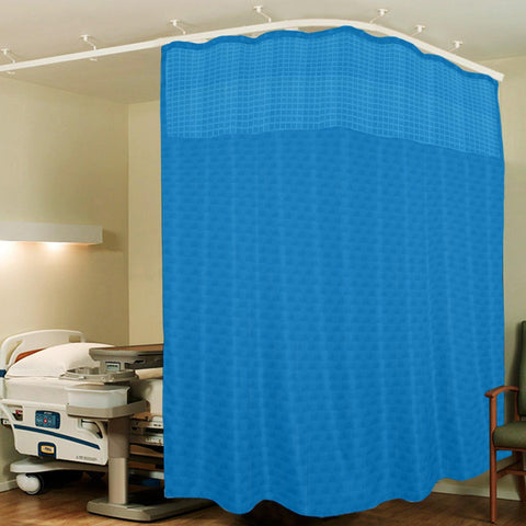 Lushomes Dark Blue ICU Partition Cubes Square Net Hospital Curtain with 8 Eyelets and 8 C-Hooks (Size 366 X 215 cms, Single Pc, 3 partition Curtains Stitched Together) - Lushomes