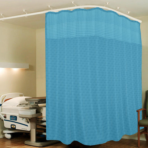 Lushomes Sky Blue ICU Partition Cubes Square Net Hospital Curtain with 8 Eyelets and 8 C-Hooks (Size 366 X 215 cms, Single Pc, 3 partition Curtains Stitched Together) - Lushomes