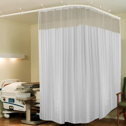 Lushomes White Full Sized Hospital Curtain with 16 eyelets and 16 C-hooks (8Ft x 7Ft, 2 Panels Attached) - Lushomes