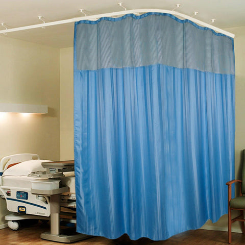 Lushomes Full Sized Dark Blue Stripres Hospital Curtain with 24 eyelets and 24 C-hooks (12Ft x 7Ft, 3 Panels Attached) - Lushomes