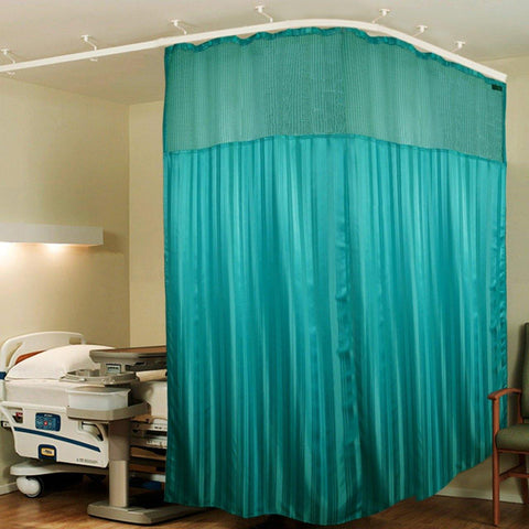 Lushomes Full Sized Dark Green Stripres ICU Bed Partion Hospital Curtain with 24 Eyelets and 24 C-Hooks and Net(12Ft x 7Ft, 3 Panels Attached) - Lushomes