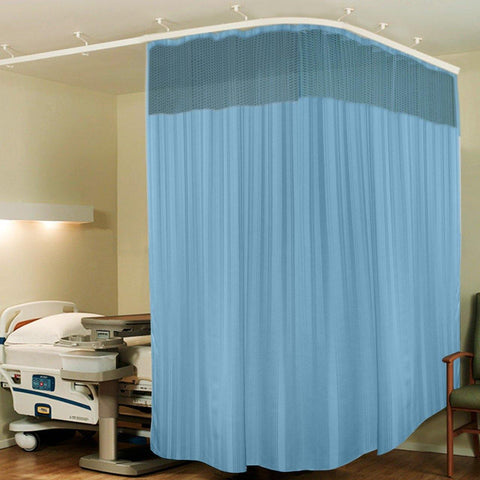 Lushomes Full Sized Sky Blue Stripres ICU Bed Partion Hospital Curtain with 24 Eyelets and 24 C-Hooks and Net(12Ft x 7Ft, 3 Panels Attached) - Lushomes