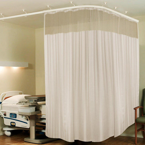 Lushomes Full Sized Cream Stripres ICU Bed Partion Hospital Curtain with 24 Eyelets and 24 C-Hooks and Net(12Ft x 7Ft, 3 Panels Attached) - Lushomes