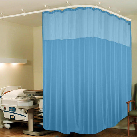 Lushomes Sky Blue Full Sized Hospital ICU Bed Zig Zag Curtain with 16 Eyelets and 16 C-Hooks and Net (8Ft x 7Ft, 2 Panels Attached) - Lushomes