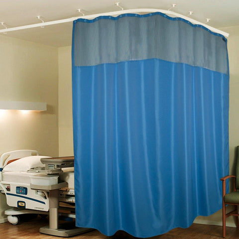 Lushomes Dark Blue Full Sized Hospital ICU Bed Zig Zag Curtain with 16 Eyelets and 16 C-Hooks and Net (8Ft x 7Ft, 2 Panels Attached) - Lushomes