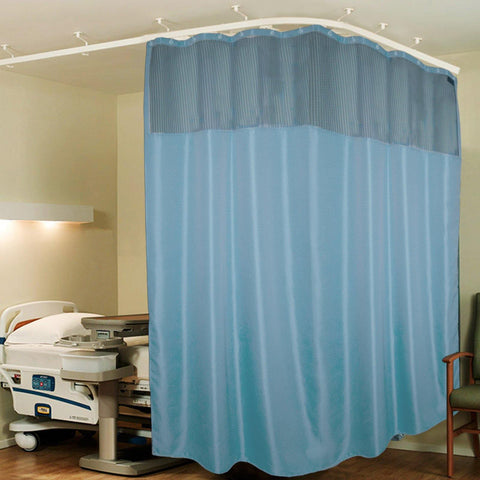 Lushomes Sky Blue ICU Partition Zig Zag Blue Net Hospital Curtain with with 24 eyelets and 24 C-hooks (12Ft x 7Ft, 3 Panels Attached) - Lushomes