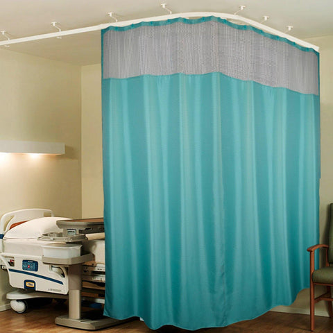 Lushomes Dark Green ICU Partition Zig Zag White Net Hospital Curtain with with 24 eyelets and 24 C-hooks (12Ft x 7Ft, 3 Panels Attached) - Lushomes