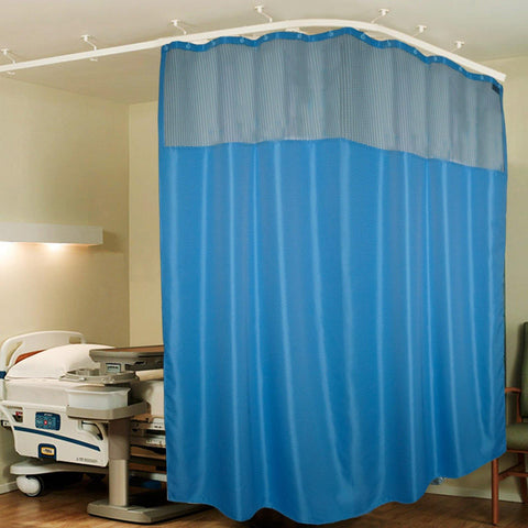 Lushomes Dark Blue ICU Partition Zig Zag Blue Net Hospital Curtain with with 24 eyelets and 24 C-hooks (12Ft x 7Ft, 3 Panels Attached) - Lushomes